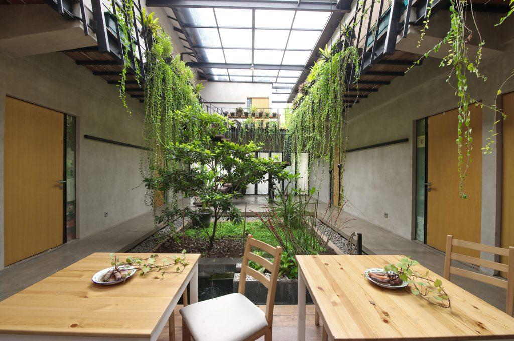 Крытый сад под потолочным окном пансионата в Чиландаке, Южная Джакарта, Индонезия