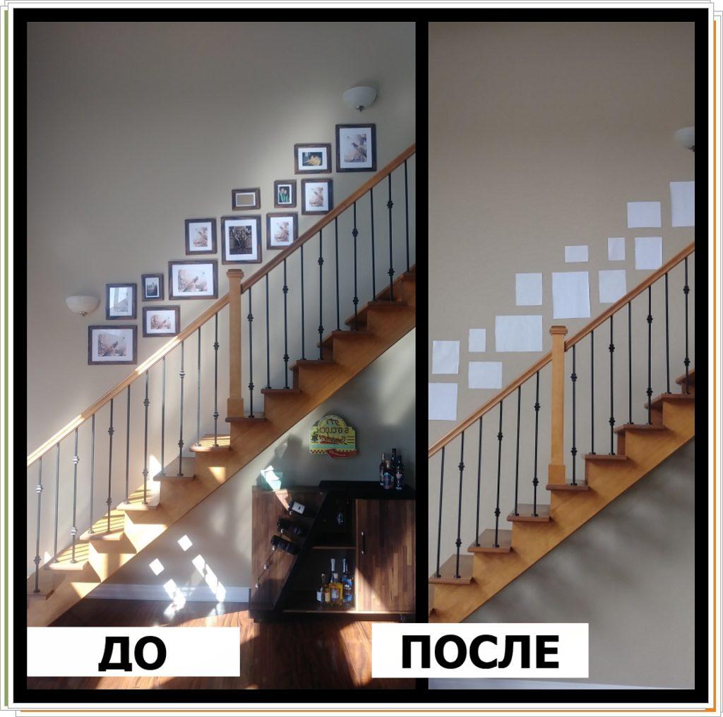 Чем украсить стену у лестницы